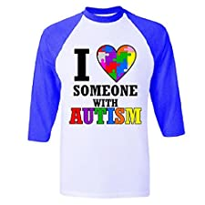 I Love Someone With Autism Raglan Baseball T-Shirt