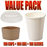 [VALUE PACK] Genuine Joe Disposable Hot Cup + Hot Cup Lid + Protective Corrugated Cup Sleeve (Pack of 100)