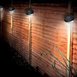 12 Solar Powered 2 LED Bulb Fence Lights Outdoor Wall Garden Door Lighting Shed Path New
