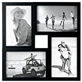 Malden International Designs Puzzle 4-Way Opening Plastic Picture Frame Collage, 4 by 6-Inch, Black