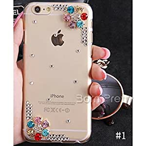 Generic Charming Flower Case For iPhone6/6Plus Crystal Rhinestone iPhone Case Cover # 21167(#1(IPHONE6 PLUS)
