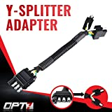 OPT7 4-Pin Tow Y Splitter Connector Adapter for Truck Tailgate - Perfect for Trailers, Accessory Lighting, Towing, Safety Lighting - Weatherproof