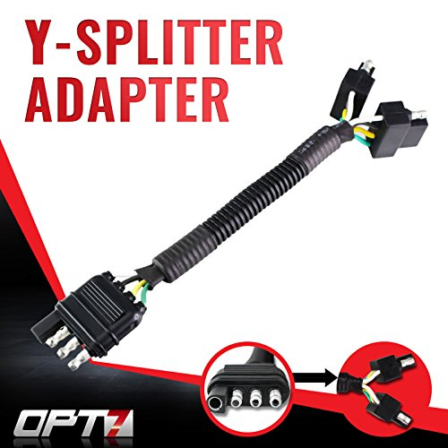 OPT7 Weatherproof 4-Pin Tow Y Splitter Connector Adapter for Truck Tailgate - Perfect for Trailers, Accessory Lighting, Towing, Safety Lighting (Ford F150 Truck Accessories compare prices)