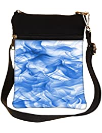 Snoogg White And Blue Smoke 2430 Cross Body Tote Bag / Shoulder Sling Carry Bag