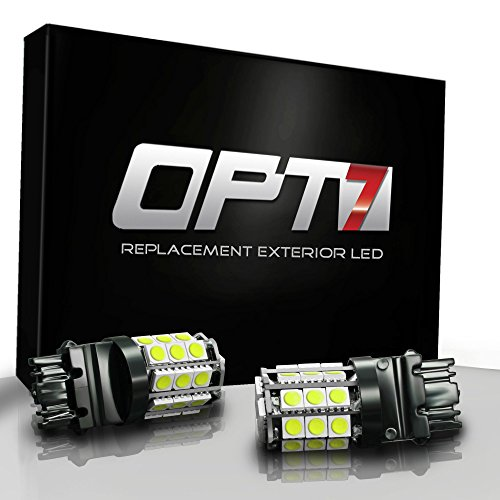 Opt7® 7440 T20 Advanced Bright 28-Smd Led Bulb - Brake Tail Light Reverse Signal Backup Bulbs W/ Load Resistors - Amber