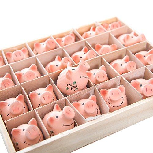 24-petits-lchelnde-Cochon-en-argile-Bonne-chance-4-x-3-x-4-cm-dans-bote-en-bois-pratique-comme-Attention-petit-cadeau-ou-petit-cadeau-de-mariage-anniversaire-fte-le-nouvel-an-Party-etc