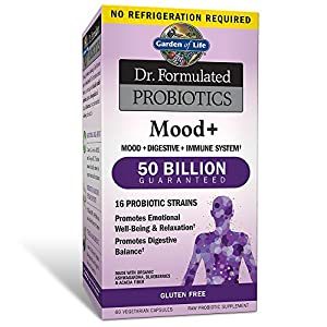 Garden of Life Probiotic and Mood Supplement - Dr. Formulated Mood+ for Digestive Health, Shelf Stable, 60 Capsules