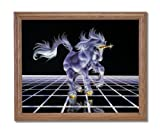 Unicorn The Grid Magical Kids Room Fantasy Home Decor Wall Picture Oak Framed Art Print