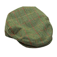 Irish Tweed Cap Green Plaid by Hanna Hats of Donegal