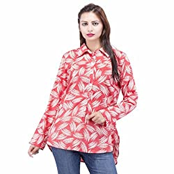 Jaipur Kala Kendra Women's Cotton Printed Full Sleeves Casual Top Shirt Medium Peach