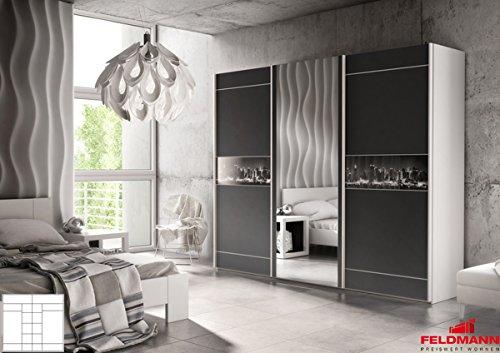 Schwebeturenschrank 110039 Kleiderschrank mit Spiegel 3-turig weiß / schwarz - skyline 266cm