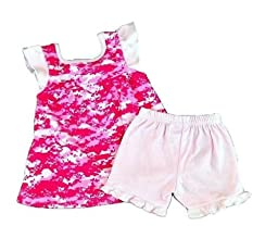 Toddler girl #776 Pink Camoflauge Sun Top w Shorts Set Sizes: 2T - 4T (4T)