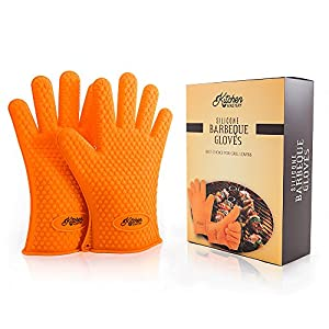 The Best Silicone Heat Resistant Grill BBQ Gloves Set for Chefs around the World - 1 Pair of Cooking Gloves Perfect For Use As Oven Gloves, Pot Holders, Grilling Gloves, Bbq Tools, Handling Hot Food in The Kitchen, Baking, Smoking - Protect Your Hands Wit