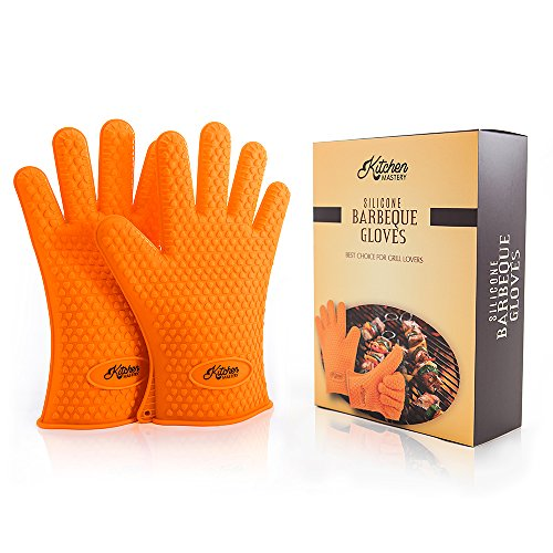 The Best Silicone Heat Resistant Grill BBQ Gloves Set for Chefs around the World - 1 Pair of Cooking Gloves Perfect For Use As Oven Gloves, Pot Holders, Grilling Gloves, Bbq Tools, Handling Hot Food in The Kitchen, Baking, Smoking - Protect Your Hands With Insulated Waterproof Five Fingered Grip Barbecue Gloves, Far More Protection And Easier to Use Than Oven Mitts!