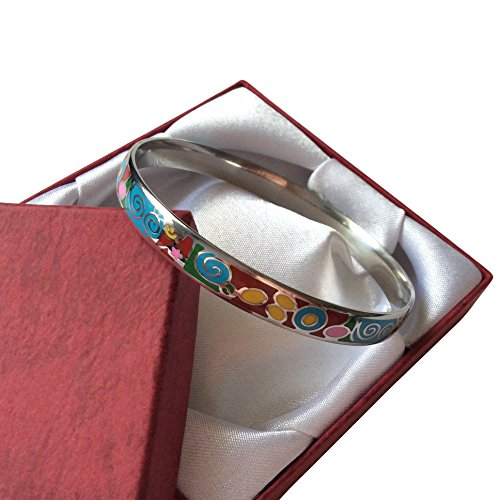 EverKid Bangles Bracelets Elegant Fashion Jewelry Multicolored Enamel Bangle - Stainless Steel - 3 Color Variations - Perfect Gift for Mom on Mother Day - Charming Birthday Gift for Teens, Girls in Gift Jewelry Box