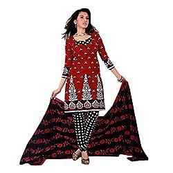 Paras Women's Unstitched Salwar Suit (Maroon_Free Size)