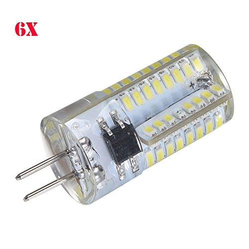 Ljy 6Pcs Pack G4 3014 Smd 64-Led 5W 230-260Lm White Light Led Crystal Bulb 360 Degrees Energy Saving Capsule Spotlight Lamps Ac 110V