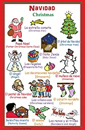 Poster with Words About Christmas in Spanish with English Translation - Bilingual Classroom Wall Decor (11x17 inches)