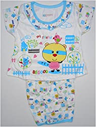 Bubbles Dress With Bloomer Diaper Cover - Blue (0-4 Months)