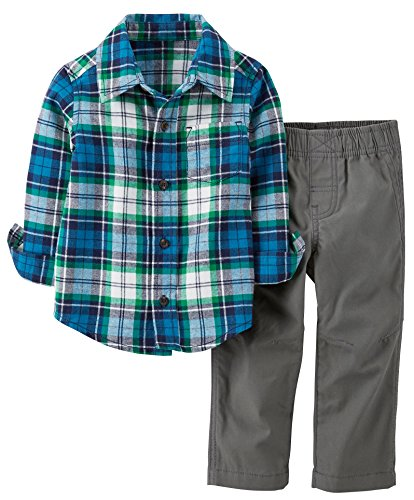 Carters Boys Toddler Flannel Shirt & Pant Set 2T Blue/Grey front-1030752
