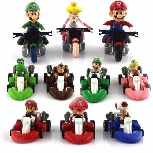 10 PCS Super Mario Kart Mario Luigi Pull Back Car & Bike 2'' Figure Toy Gift (Super Mario Cars compare prices)