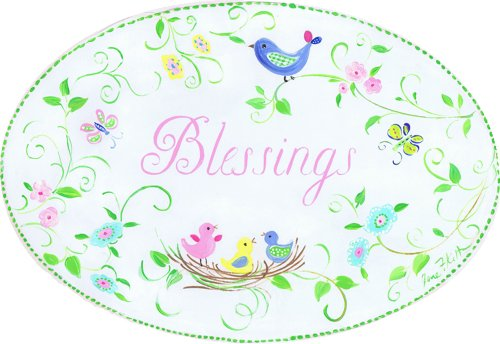The Kids Room by Stupell Blessings Birds in a Nest Oval Wall Plaque