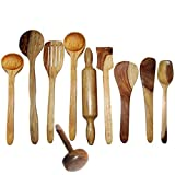 Wooden Cooking & Serving Spoon Set Of 10 Pcs | Wooden Kitchen Tools, Spatula And Ladle Set Includes 1 Skimmer(...
