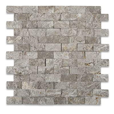 SILVERADO GRAY 1X2 Marble SPLIT-FACED Mosaic Tile from Oracle Tile & Stone