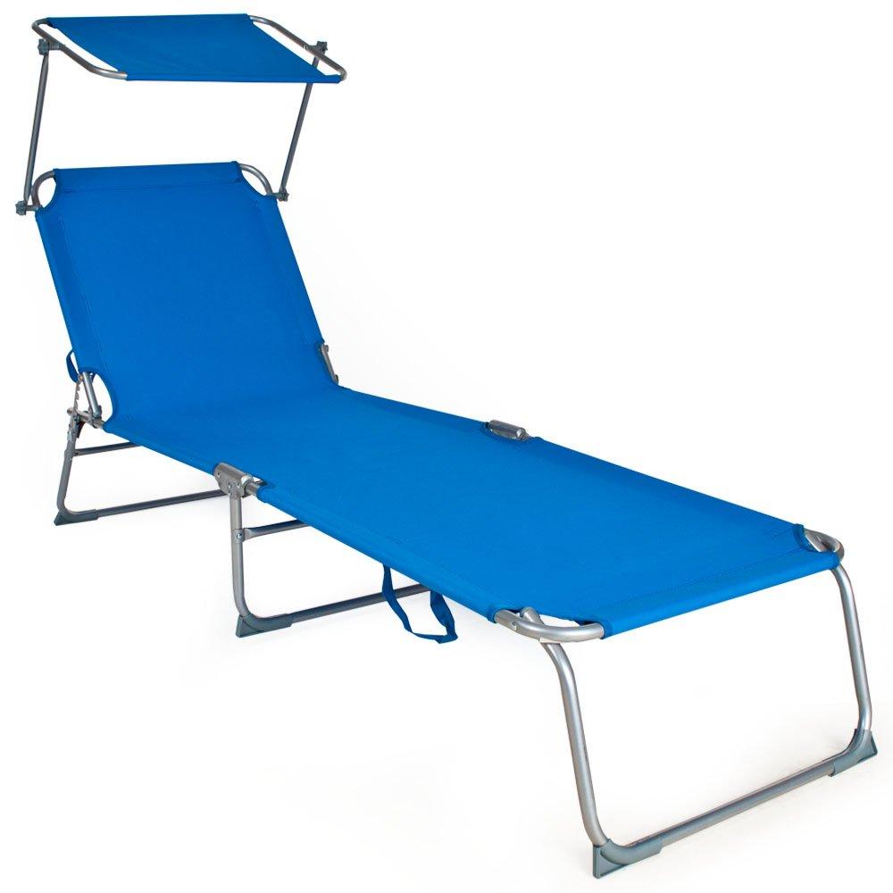 TecTake® Gartenliege Sonnenliege Strandliege Freizeitliege mit Sonnendach 190cm blau günstig