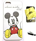BUKIT CELL Disney Mickey Mouse Flexible TPU SKIN Protector Case Cover (Classic Mickey) for Apple iPhone 5 / 5G (Fits any carrier) + Bukit Cell Trademark Lint Cleaning Cloth + Metallic Detachable Touch Screen STYLUS PEN with Anti Dust Plug