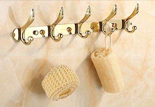 Rozinsanitary Solid Brass Bathroom Living Room Golden Polish Clothes Hanger Bathroom Towel Hat Hooks Wall Mounted