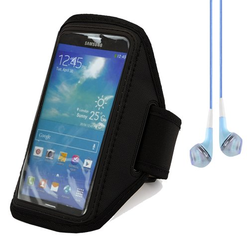 Outdoor Spsorts Armband For Samsung Galaxy Mega 6.3 / Mega 5.8 (Black) + Blue Vangoddy Headphone With Mic