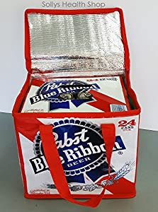 Pabst Blue Ribbon Insulated Beer Tote Cooler Bag, Fits 24pk of PBR Beer by Pabst Blue Ribbon