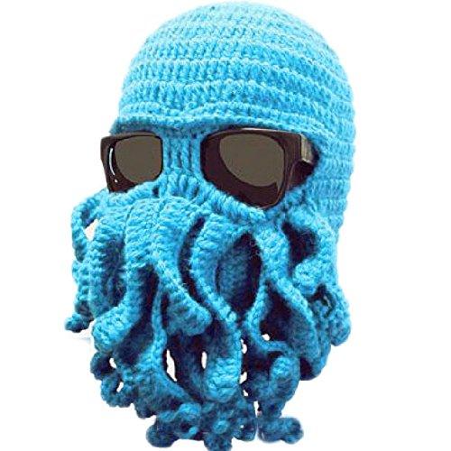DAYAN Winter Hats Maschera caldo polpo cappello di lana Handmade Knitting Wool Octopus Colore azzurro