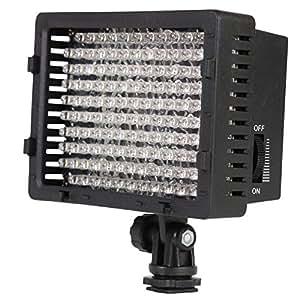Dörr 371045 126 Ultra LED-Videolicht (950 Lux/1 m, dimmbar) inkl. weißer Diffusor für weiches Licht, oranger Diffusor für Kunstlicht, minus-grün Filter