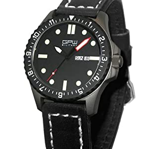 German Military Titanium Watch. GPW Day Date Red Minute Hand. Sapphire Crystal. Black Leatherstrap. 200M W/R from ARCTOS Praezisionsuhren