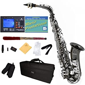 Mendini by Cecilio MAS BNN+92D+PB Black Nickel Plated and Nickel Plated Keys E Flat Alto Saxophone with Tuner, Case, Mouthpiece,