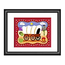 Ride Em Cowboy Theme Covered Wagon Art Print w Black Frame