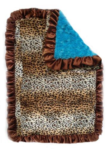 Patricia Ann Designs Satin Ruffles Cheetah Swirl Indulgence Blanket, Turquoise/Chocolate