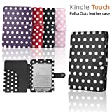 """eLifeStore� Stylish Polka Dot Kindle Touch / Kindle Paperwhite PREMIUM Leather Case Flip Cover Wallet with Magnetic Flap Closure for New 2012 Amazon Kindle Touch / Kindle Paperwhite Wi-Fi 3G 6"""" inch - Book Style (Black and White Polka Dot)by eLifeStore"""