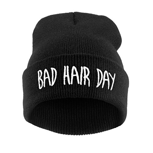 Men's Women's Beanie Hat Winter Warm Black Bad Hair Day Cocaine&Caviar Wasted Youth YOLO Parental Advisory Homies Normal Is Boring HAKUNA MATATA (ONE SIZE FITS ALL, Bad Hair Day (black))
