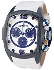Invicta Men's 10281 Lupah Revolution Chronograph Silver Dial White Leather Watch