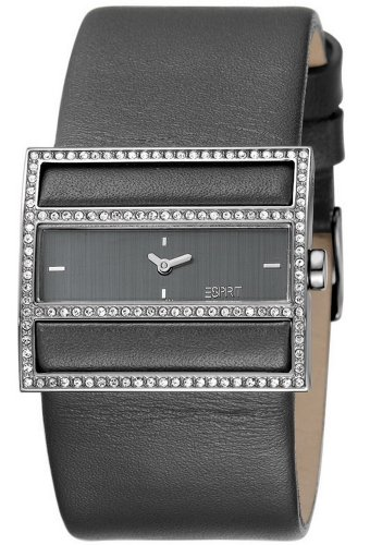 Esprit ES103072001 - Reloj analógico de cuarzo para mujer con correa de piel, color negro