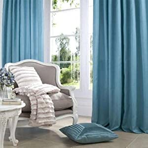 Superb Quality 46x54 Teal Faux Silk Pencil Pleat Fully Lined Curtains *tur* by Curtains