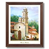 Mexican Mission Market Spanish Landscape Home Decor Wall Picture Cherry Framed Art Print