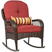 Best Choice Products Wicker Rocking Chair Patio Porch Deck Furniture with Cushions