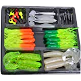 Boutique1583 Fishing Lures Bait Tackle Soft Small Jig Head Box Set Simulation