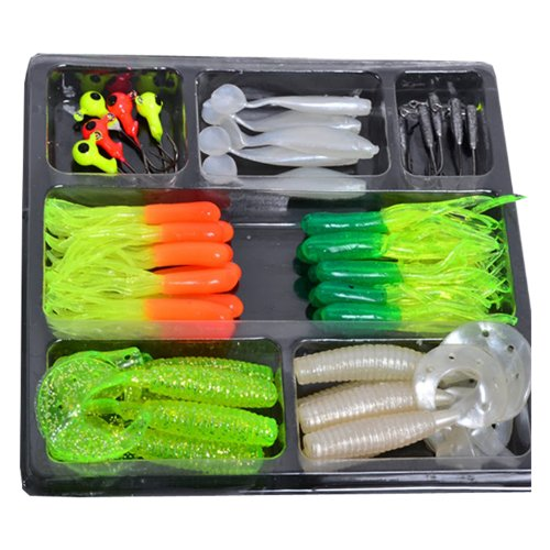 Fishing Lures Bait Tackle Soft Small Jig Head Box Set Simulation