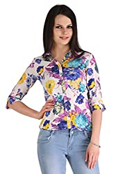 ZAIRE Women's Fashionable Floral 3/4 Sleeves Semi-Georgette Top (1790-3/4TH,Multicolor,S)