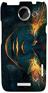 Marvelous 3D multicolor printed protective REBEL mobile back cover for HTC X+. D.No-DEZ-1480-htcx